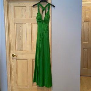 STUNNING Emerald grn beaded backless evening dress